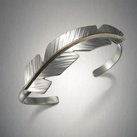 Mixed Metal Feather Cuff Bracelet by Peter James