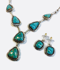 Vintage Turquoise Necklace and Earring Set by Navajo Native American Artist Lonnie Willie
