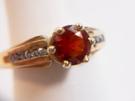 14kt Gold Oregon Sunstone Ring with Diamonds