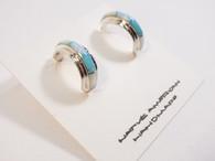 Turquoise Inlay Semi Hoop Post Earrings Native Made