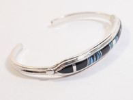 Inlay Onyx and Opal Cuff Bracelet Native Made