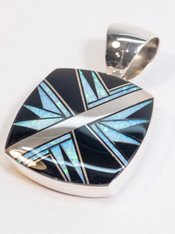 Onyx and Opal Inlay Pendant in Sterling Native Made