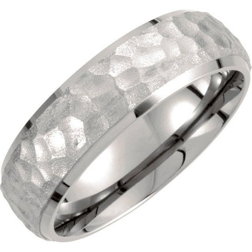 Titanium ring hammered band
