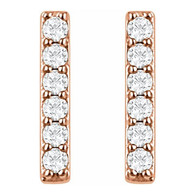 Rose Gold Diamond Bar Earrings (14kt with 1/10 CTW Lab-Grown diam)