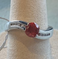 Oregon Sunstone Silver Swoop Ring With Topaz