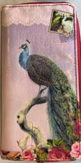 Vintage Purple Peacock Wallet Vegan Leather