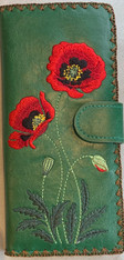 Large Poppy Embroidery Wallet Vegan Leather