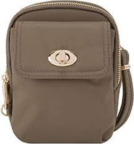 Anti-Theft Tailored Crossbody Phone Pouch, Sable