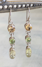 Citrine, Peridot, Lemon Quartz Silver Dangle Earring