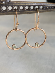 Open Circle Peridot Gold Fill Drop Earring