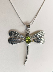 Dragonfly Peridot Silver Pendant