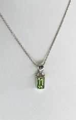 Rectangular Peridot Silver Pendant