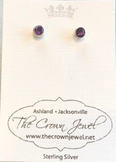 Small Faceted Amethyst Silver Post Earrings