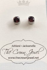 Square Faceted Garnet Silver Post Earring