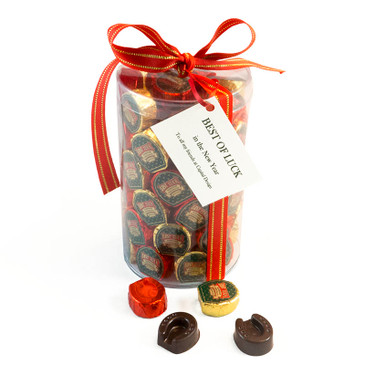 Horseshoe Chocolates cylinder of 75 with personal tag