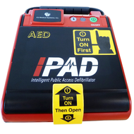 iPAD NF1200 AED with integrated carry handle and clearly marked steps for use.