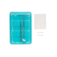 Dental Examination Kit Sterile with Dental Mirror, Dental Probe, Dental Roll, Paper Towel, Tissue and a Tray