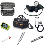 Medical Practitioner and Students Diagnostic Kit - Basic PLUS, includes GP Medical Bag, Welch Allyn Diagnostic Set, Aneroid BP Monitor, Dual Head Stethoscope, Finger Pulse Oximeter, Taylor Percussion Hammer, Tuning Fork 512hz, Deluxe Reusable Pen Torch