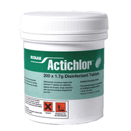 Actichlor  1.7g NaDCC (Chlorine) disinfectant tablets, 200 per Bottle