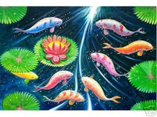 Fish with Lotus 24x36 Art Philippines Oil Painting