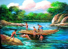 Kids Playing in the River Art Philippines Oil Painting