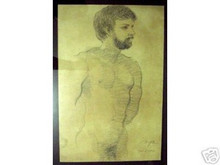 Nude Man Original Charcoal Sketch Joya Art Philippines