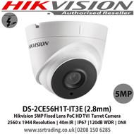 Hikvision DS-2CE56H1T-IT3E 5MP 2.8mm Fixed Lens 40m IR TVI PoC EXIR Turret Camera