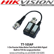 1 Chn Passive Video Balun Twin Pack With Pigtail - TT-105AP