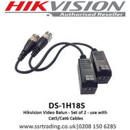 Hikvision DS-1H18S Video Balun Set of 2 - use with Cat5/Cat6 Cables