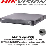 HIKVISION DS-7208HQHI-K1(S) 3MP TURBO HD 8 CHANNEL 1 SATA AUDIO OVER COAX DVR