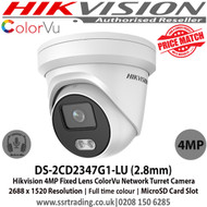 Hikvision ColorVu Camera 4MP 2.8mm Fixed Lens 30m IR  IP66 Full time colour IP Network ColourVu Turret Camera - Built-in micro SD/SDHC/SDXC slot, up to 128G, Built-in mic - DS-2CD2347G1-LU  - Ist