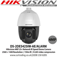 Hikvision 4MP Network Speed Dome Camera with 25× optical zoom 16× digital zoom 150 m IR distance H.265+/H.265 video compression, WDR, HLC, BLC, 3D DNR, Defog, EIS, Regional Exposure, Regional Focus - DS-2DE5425IW-AE/ALARM - 2nd