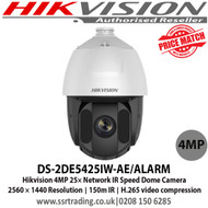 Hikvision Camera 4MP Speed Dome Network Camera with 25× optical zoom 16× digital zoom 150 m IR distance H.265+/H.265 video compression, WDR, HLC, BLC, 3D DNR, Defog, EIS, Regional Exposure, Regional Focus - DS-2DE5425IW-AE/ALARM - 1st