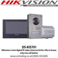 Hikvision - 2 wire digital IP video intercom kit for villa or house, only one call button - DS-KIS701