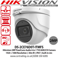 Hikvision 2MP Audio Camera Turret Camera with 2.8mm fixed lens, Smart IR, up to 30 m IR distance,  IP67, Audio over coaxial cable, built-in mic, 4 in 1 video output (switchable TVI/AHD/CVI/CVBS) - DS-2CE76D0T-ITMFS