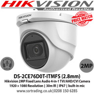 Hikvision DS-2CE76D0T-ITMFS 2MP Audio Camera Turret Camera with 2.8mm fixed lens, Smart IR, up to 30 m IR distance,  IP67, Audio over coaxial cable, built-in mic, 4 in 1 video output (switchable TVI/AHD/CVI/CVBS)