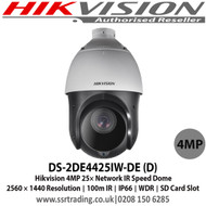 Hikvision - 4MP 25× Network IR Speed Dome Camera with Up to 100 m IR distance, 25× optical zoom, 16× digital zoom, WDR, HLC, BLC, 3D DNR, Defog, EIS, Regional Exposure, Regional Focus, Support H.265+/H.265 video compression - DS-2DE4425IW-DE (D)