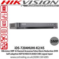 Hikvision 4 Channel 5MP Turbo HD 2 SATA Acusense False Alarm Reduction DVR with Self-adaptive HDTVI/HDCVI/AHD/CVBS signal input, H.265 Video compression - iDS-7204HUHI-K2/4S