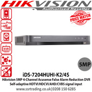Hikvision iDS-7204HUHI-K2/4S 4 Channel 5MP Turbo HD 2 SATA Acusense False Alarm Reduction DVR with Self-adaptive HDTVI/HDCVI/AHD/CVBS signal input, H.265 Video compression