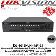 Hikvision iDS-9016HUHI-K8/16S 16 Channel 8MP Acusense False Alarm Filtering Hybrid DVR, Supports HDTVI/AHD/CVI/CVBS/IP video input,  8 SATA