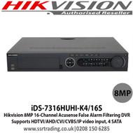 Hikvision - 16 Channel 8MP Acusense False Alarm Filtering Hybrid DVR, Supports HDTVI/AHD/CVI/CVBS/IP video input,  4 SATA - iDS-7316HUHI-K4/16S