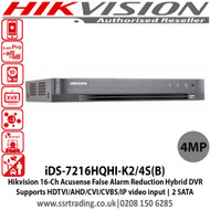Hikvision 16 Channel  4MP Turbo HD 2 SATA Acusense False Alarm Reduction Hybrid DVR, Supports HDTVI/AHD/CVI/CVBS/IP video input, Supports Deep learning-based analysis, H.265 video compression - iDS-7216HQHI-K2/4S(B)