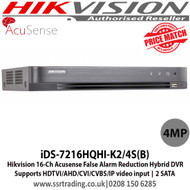 Hikvision iDS-7216HQHI-K2/4S(B) 16 Channel  4MP Turbo HD 2 SATA Acusense False Alarm Reduction Hybrid DVR, Supports HDTVI/AHD/CVI/CVBS/IP video input, Supports Deep learning-based analysis, H.265 video compression