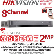 Hikvision 8 Channel 2MP Turbo HD 2 SATA Acusense False Alarm Reduction Hybrid DVR, Supports HDTVI/AHD/CVI/CVBS/IP video input, Supports Deep learning-based analysis, H.265 video compression - iDS-7208HQHI-K2/4S(B)