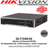 Hikvision 32 Channel 8 MP NVR with 4 SATA interfaces, H.265 Video Compression, VCA detection alarm is supported, No PoE - DS-7732NI-K4