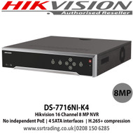 Hikvision - 16 Channel 8 MP NVR with 4 SATA interfaces, H.265 Video Compression, VCA detection alarm is supported, No PoE - DS-7716NI-K4