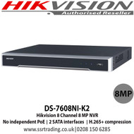 Hikvision - 8 Channel 8 MP NVR with 2 SATA interfaces connectable for recording and backup, 1 self-adaptive 10 M/100 M/1000 Mbps network interface - DS-7608NI-K2