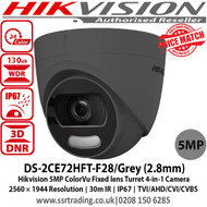 Hikvision DS-2CE72HFT-F28/Grey 5MP fixed lens colourVu 4-in-1 turret camera with, 2.8mm fixed lens, Full time colour, OSD menu, Up to 20m white light distance, IP67 weatherproof, 130dB wide dynamic range