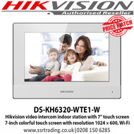 """Hikvision DS-KH6320-WTE1-W video intercom indoor station with 7"""" touch screen, Standard PoE, Supports WiFi"""