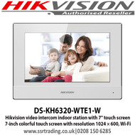 """Hikvision video intercom indoor station with 7"""" touch screen, Standard PoE, Supports WiFi (DS-KH6320-WTE1-W)"""